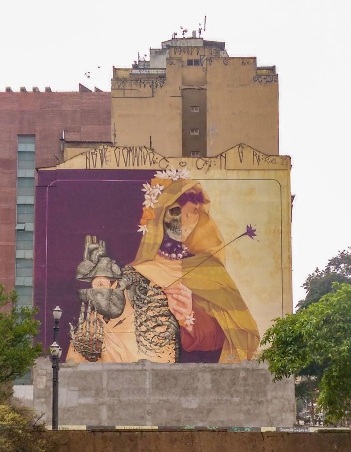 La Santa Muerte Graffiti in Anhangabaú, São Paulo Downtown