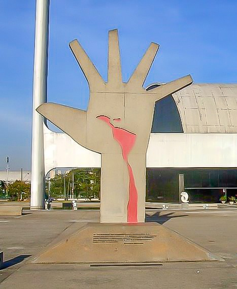 Hand bleeding statue at Latin America Memorial