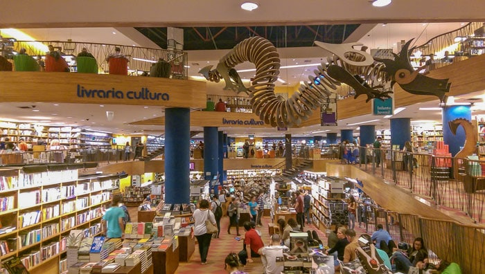 Livraria Cultura is a bookshop at Conjunto Nacional, Paulista Avenue