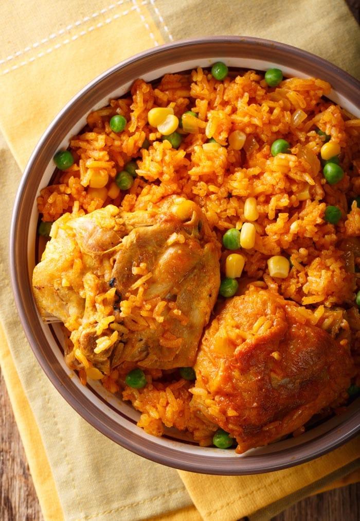 Galinhada dish with chicken and rice