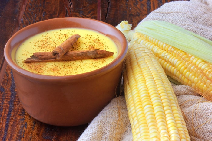 Curau made of corn in a terracotta cooking pot