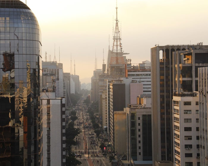 View over Paulista Ave, the region with the best hotels in Sao Paulo