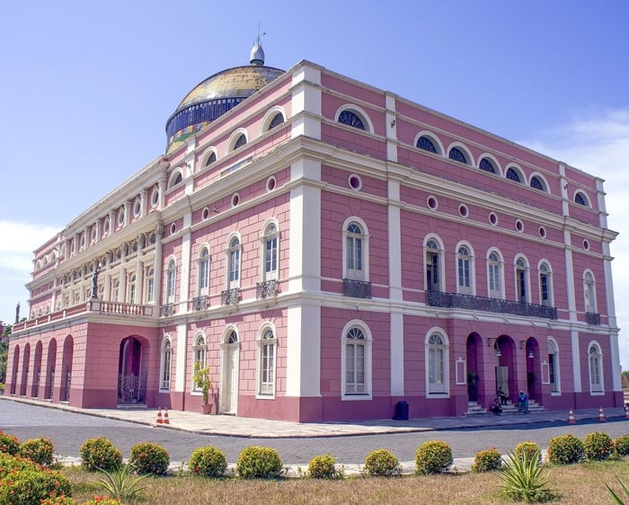 The pink Amazon Theater in Manaus