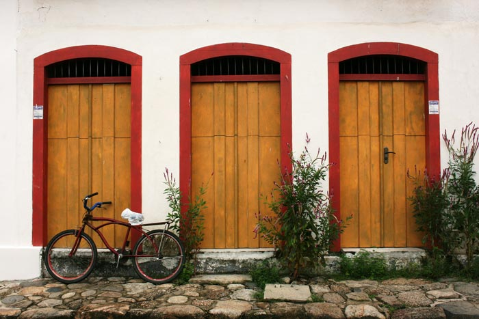 Wooden doors at the colonial town of Paraty in Brazil