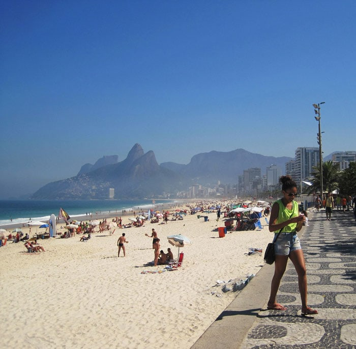 People chilling at Ipanema Beach in Rio de Janeiro