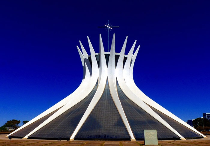The Cathedral of Brasilia is dedicated to Our Lady of Aparecida, a Brazilian holiday