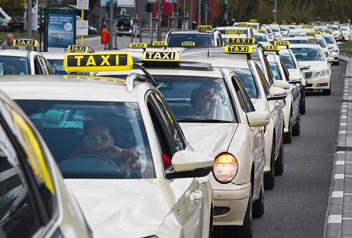 São Paulo taxis in traffic jam