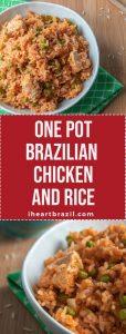 One pot Brazilian chicken and rice recipe Pinterest graphic