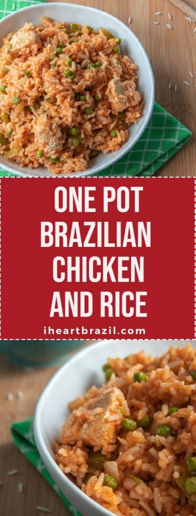 One pot Brazilian chicken and rice recipe Pinterest graphic