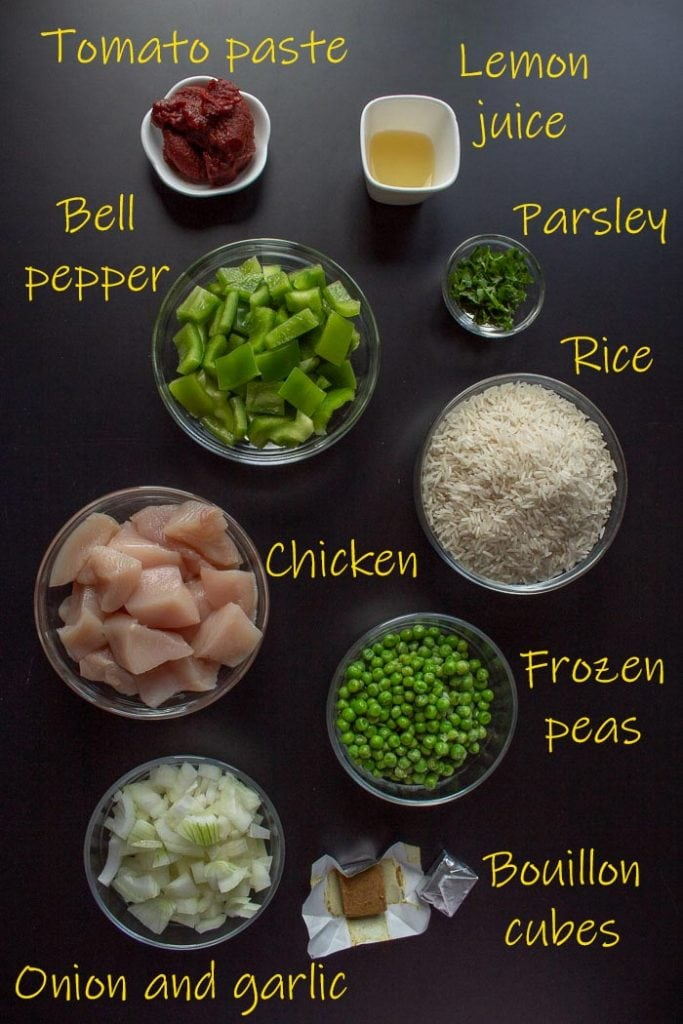 Brazilian chicken and rice ingredients