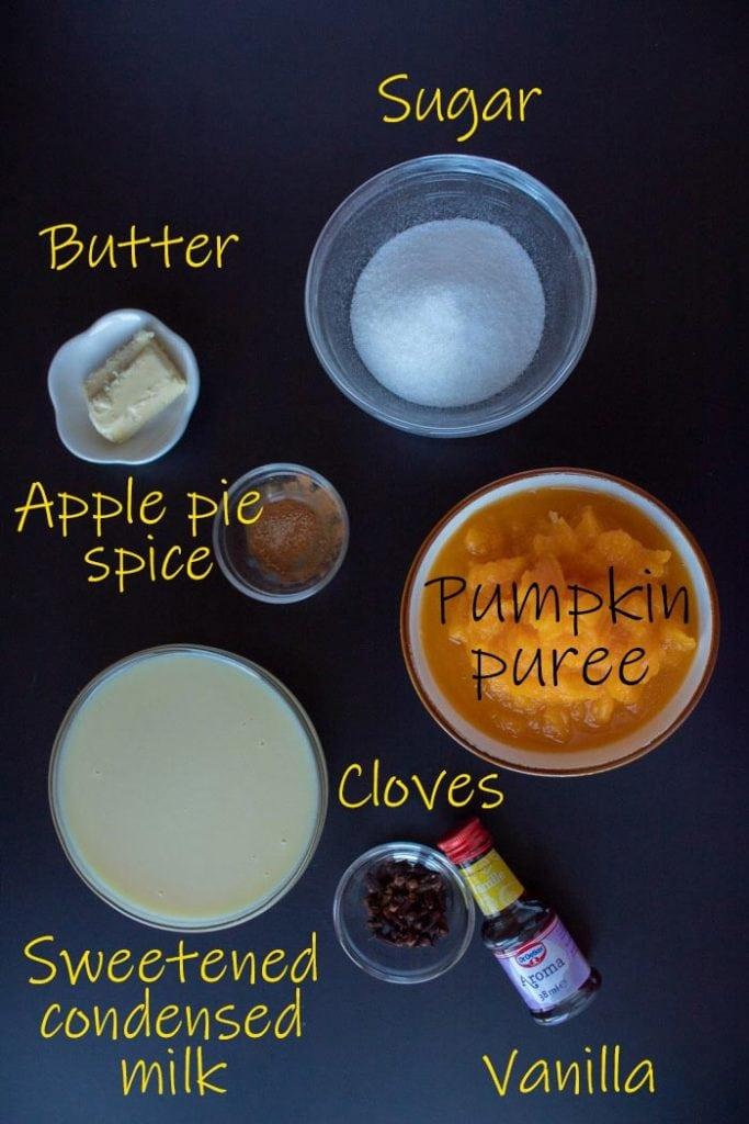 Pumpkin brigadeiro ingredients