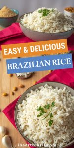 Brazilian rice recipe Pinterest graphic