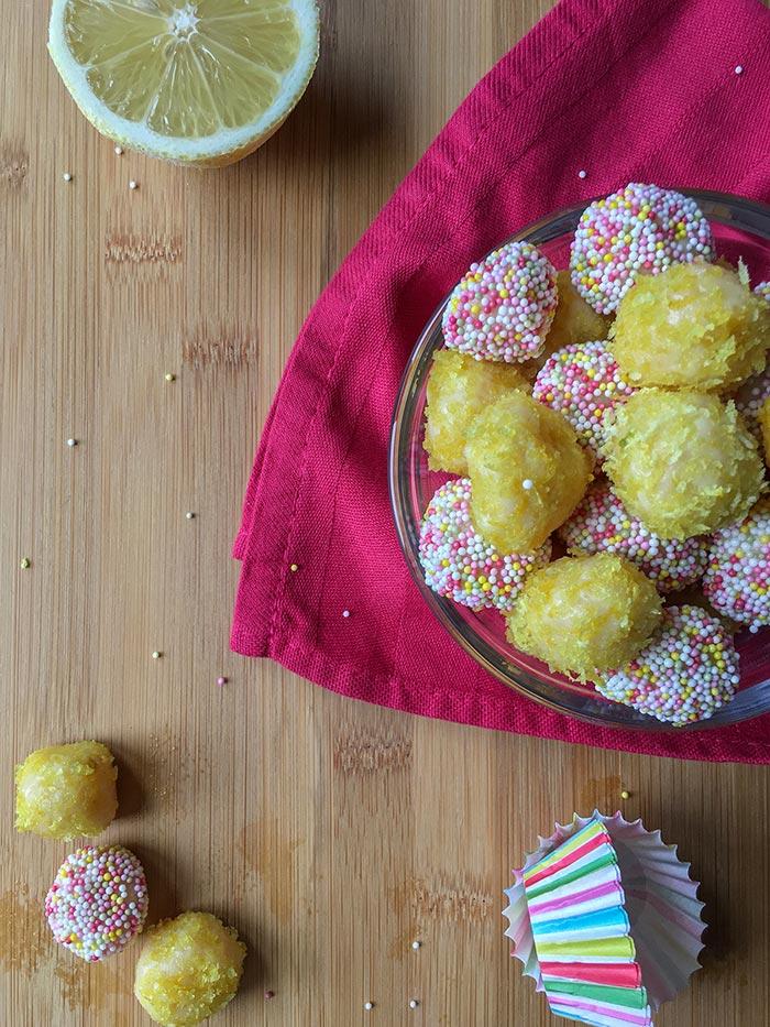 Lemon brigadeiro recipe flatlay
