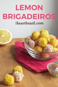 Recipe for lemon brigadeiro Pinterest graphic