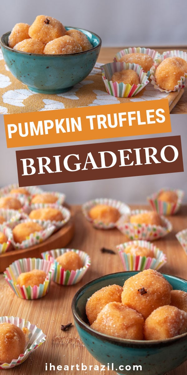 This perfect fall dessert will make your Halloween table tastier and festive. Enjoy this pumpkin brigadeiro, a delicious Brazilian sweet, with your family. | Halloween treats | Fall desserts | Pumpkin desserts | Brazilian brigadeiro | Easy Brazilian dish | Brazilian candy #FallDesserts #iheartbrazil