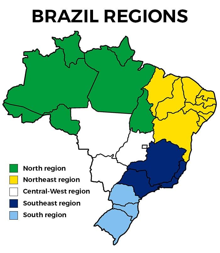 Map of Brazil regions