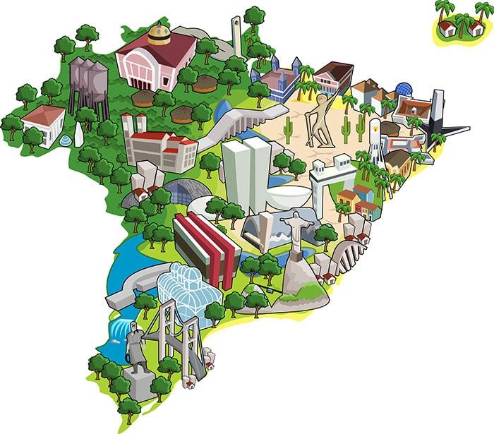 Brazil map landmarks
