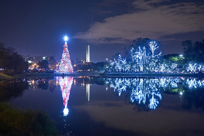 Christmas in Brazil, lights at Ibirapuera Park, Sao Paulo