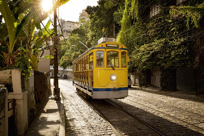 Yellow Tram in Santa Teresa, one of the best places to stay in Rio de Janeiro