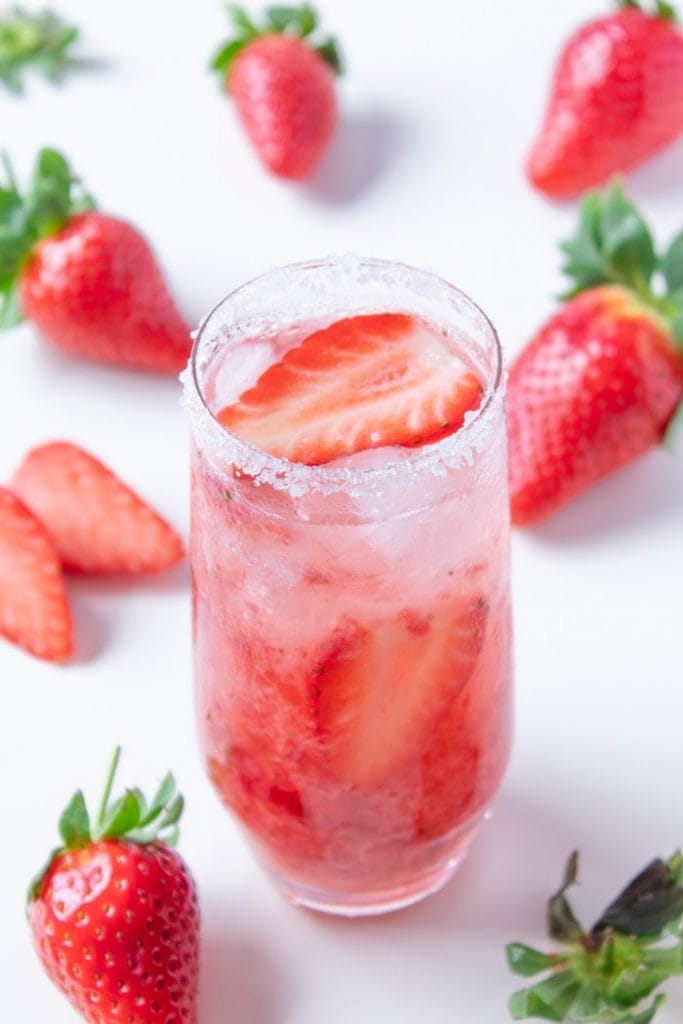 Strawberry caipirinha drink