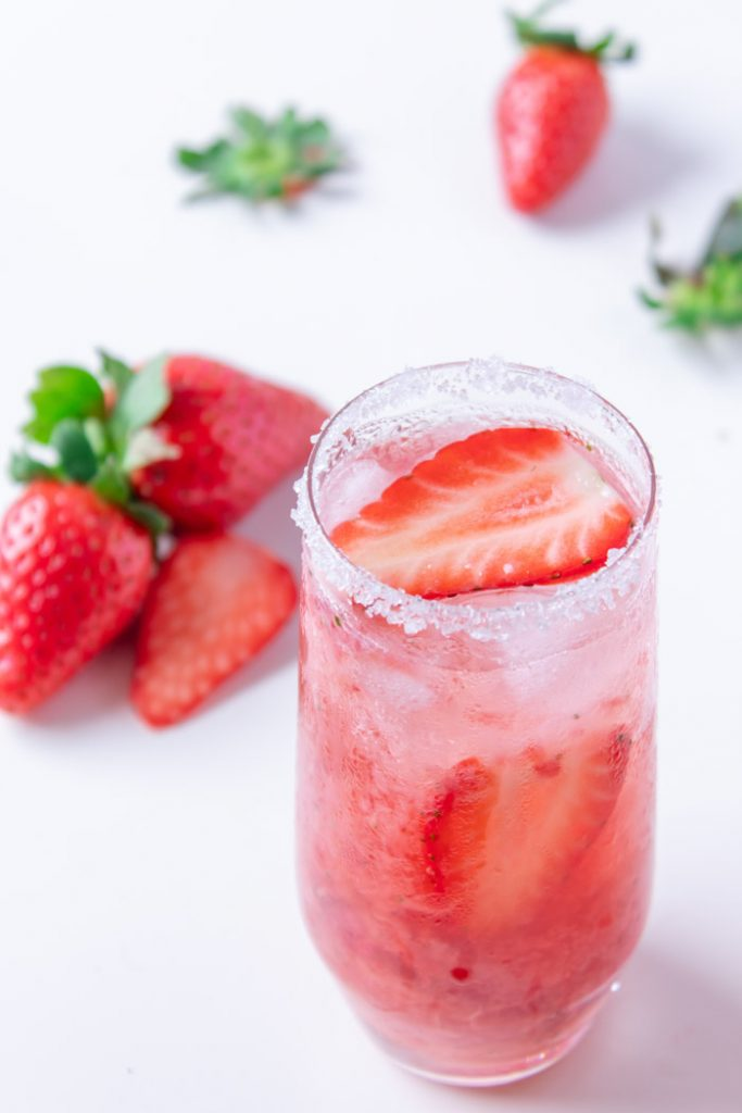 Strawberry caipirinha is made with cachaça