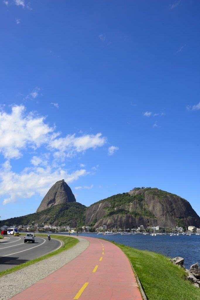 Bike lane and Sugarloaf Mountain, Rio de Janeiro