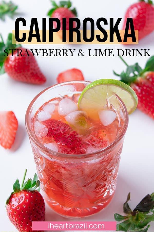 Strawberry caipiroska recipe Pinterest graphic