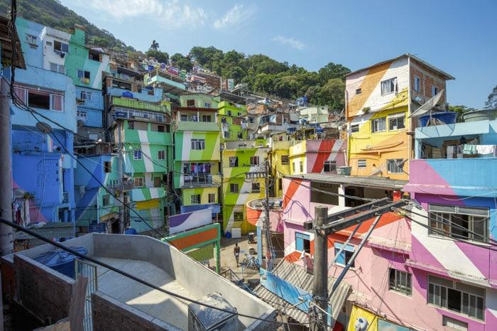 The colorful Santa Marta favela in Rio de Janeiro