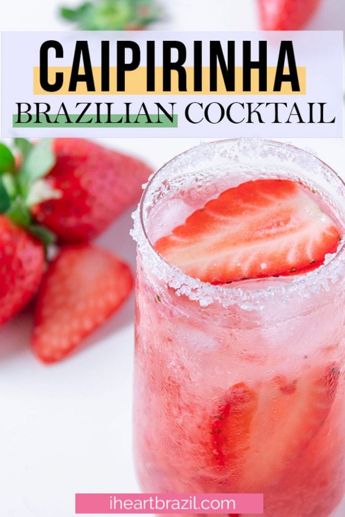 Strawberry caipirinha Pinterest graphic