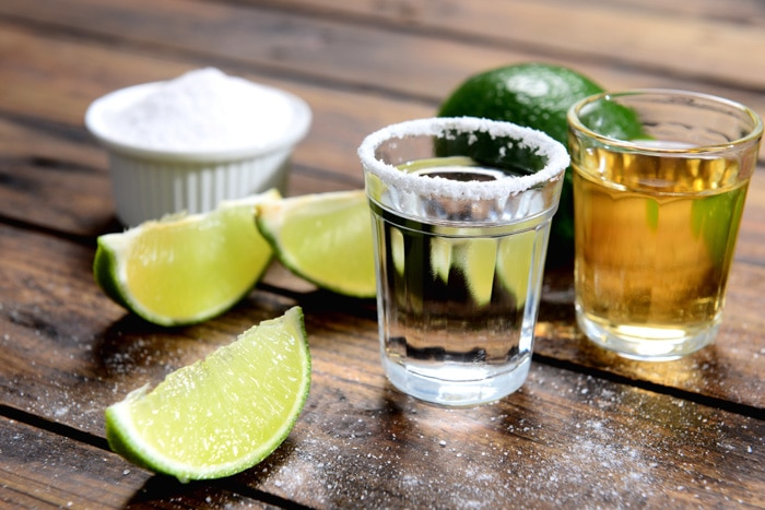 Cachaça shot with lime in Brazil