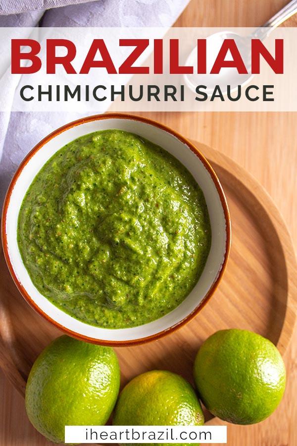 Cilantro chimichurri sauce recipe Pinterest graphic