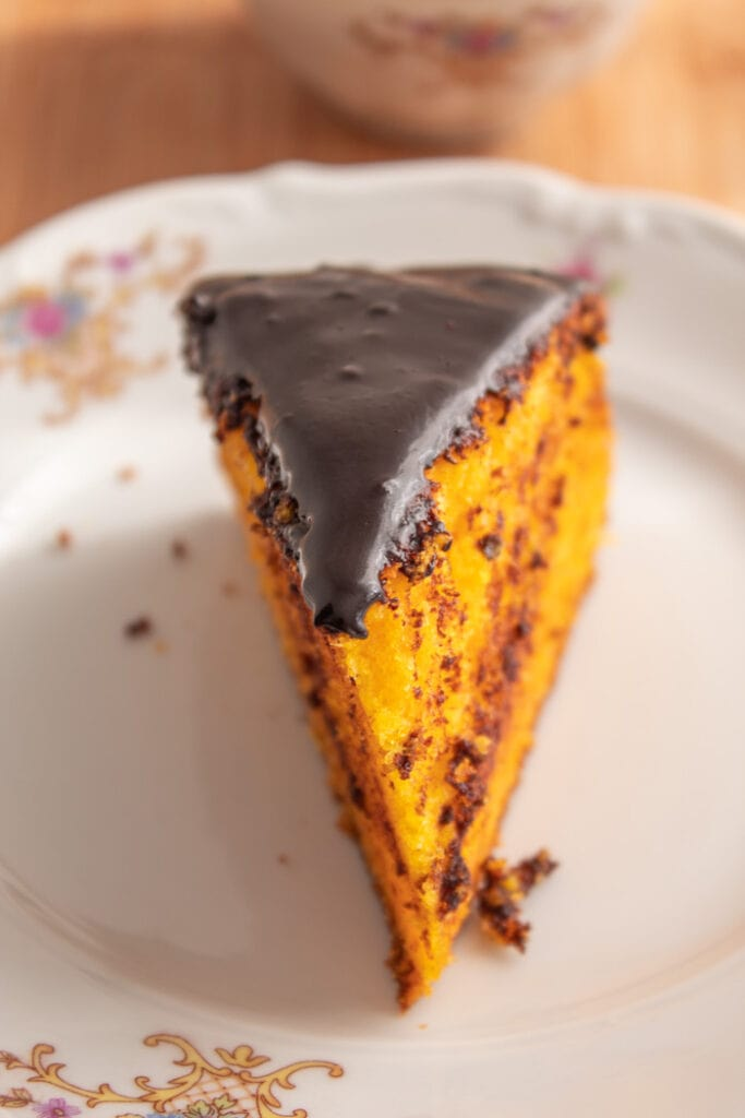 Piece traditional Brazilian carrot cake with chocolate