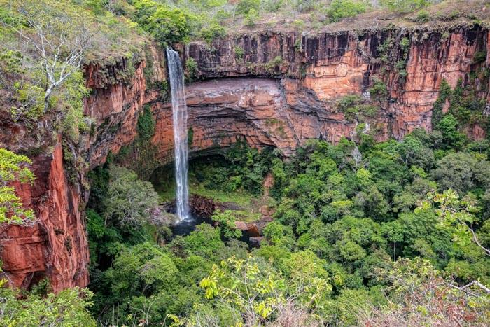 Bridal Veil Falls in Chapada dos Guimarães, Mato Grosso
