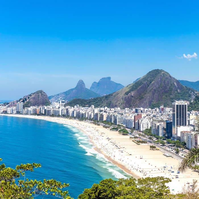 Aerial view of Copabana Beach in Rio de Janeiro