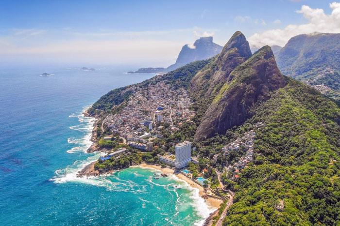 Aerial view of Vidigal Beach in Rio de Janeiro