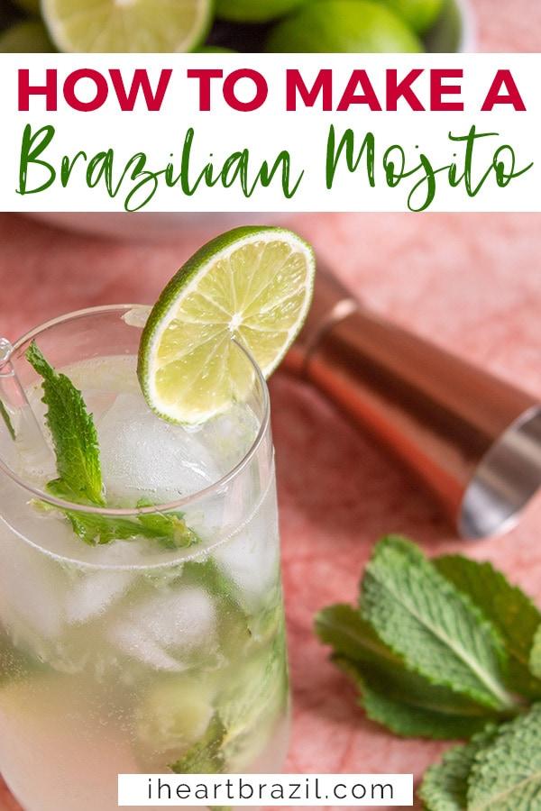 Brazilian mojito recipe Pinterest graphic