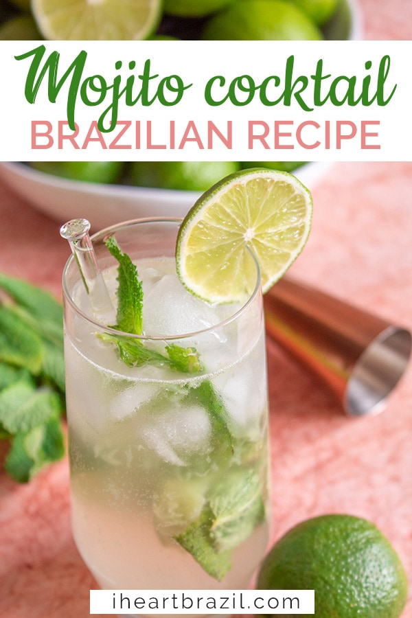 Brazilian mojito recipe Pinterest graphic
