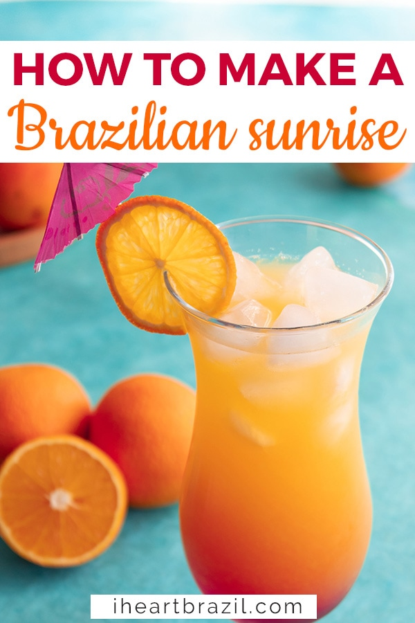 Brazilian Sunrise Cocktail Pinterest graphic