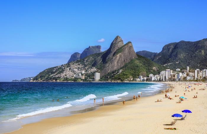 Leblon Beach and Two Brothers Hills in Rio de Janeiro