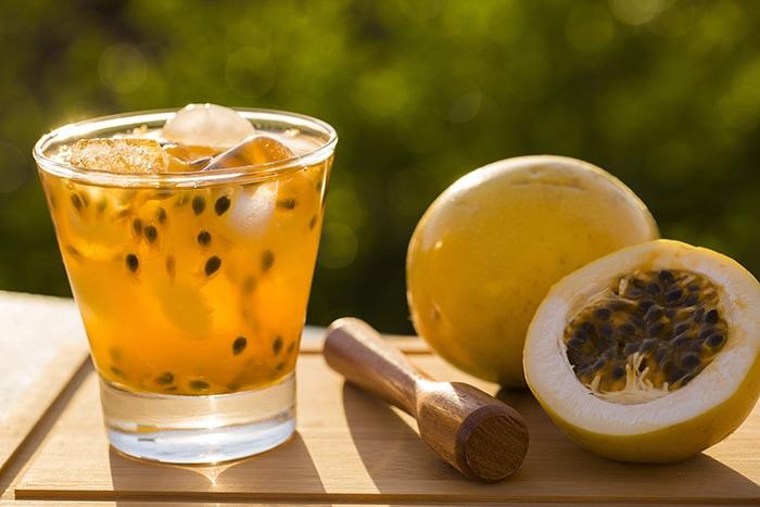 Passion fruit caipiroska cocktail