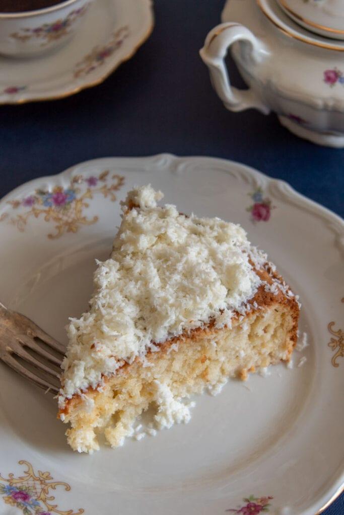 Brazilian coconut cake piece