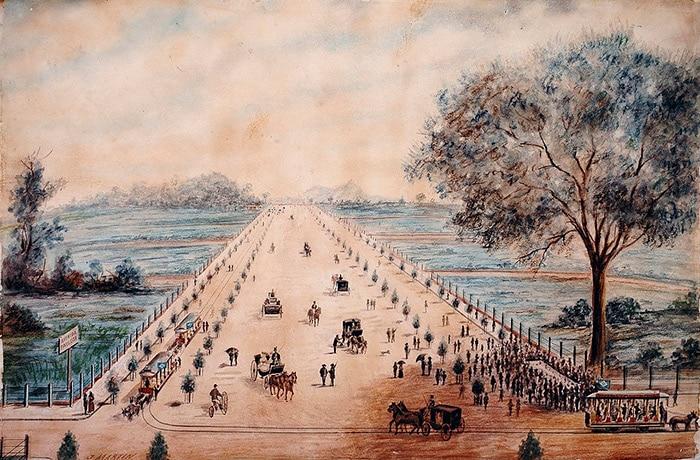 Drawing of inauguration of Paulista Avenue in São Paulo