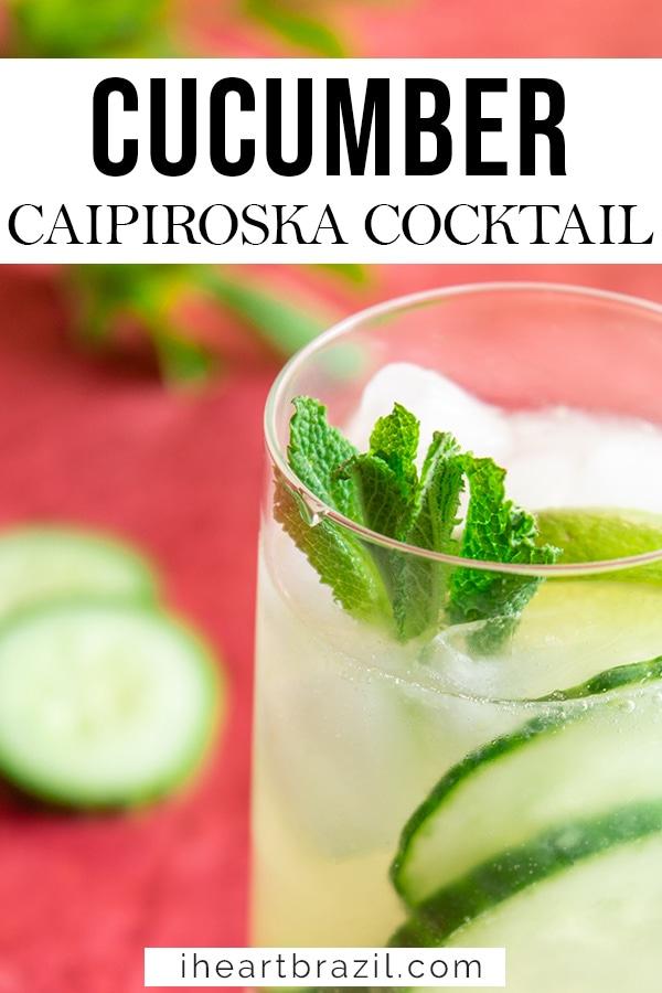 Cucumber caipiroska Pinterest graphic