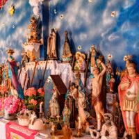 Brazilian religious altar mixing elements of Umbanda, Candomble, and Catholicism