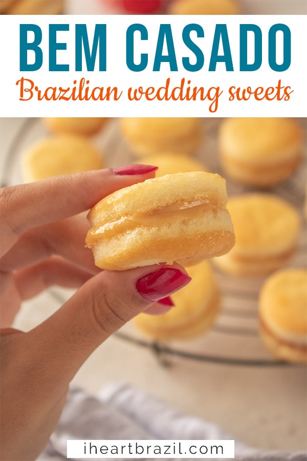 Bem casado, Brazilian wedding cookies Pinterest graphic