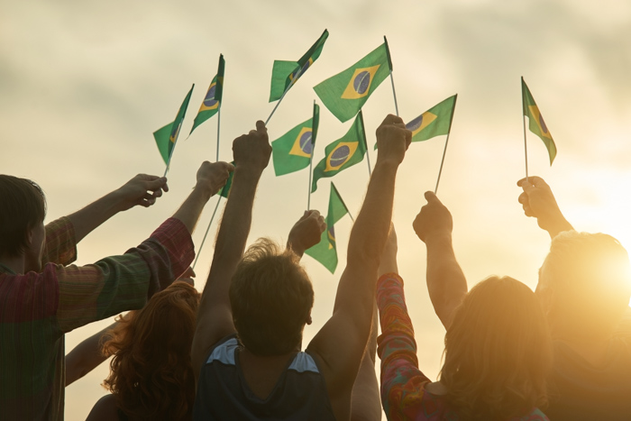 Brazilian community raising flags