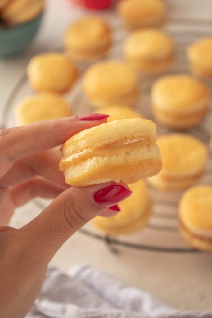 Brazilian wedding cookies with dulce de leche