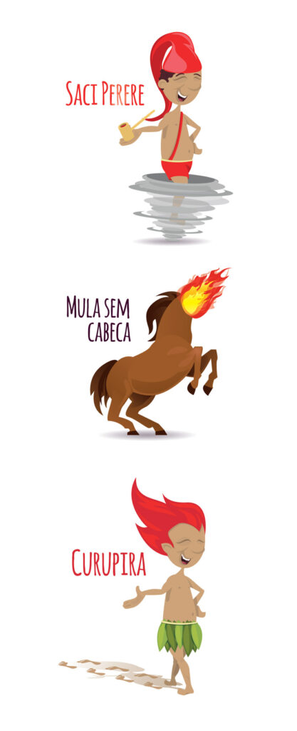 Cartoon of Brazilian folklore characters