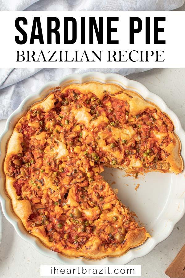 Brazilian sardine pie Pinterest graphic