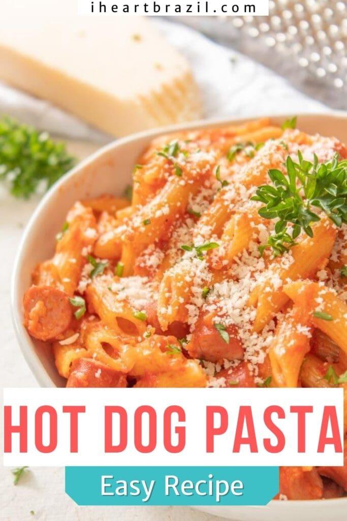 Hot dog pasta Pinterest graphic